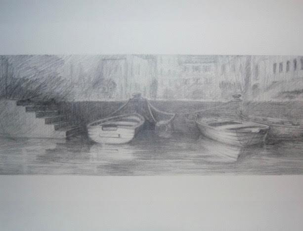 « Au port » crayon/papier, 30-65 cm