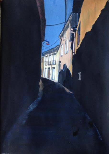 « Rue de la paix », gouache sur papier, 20-28cm
