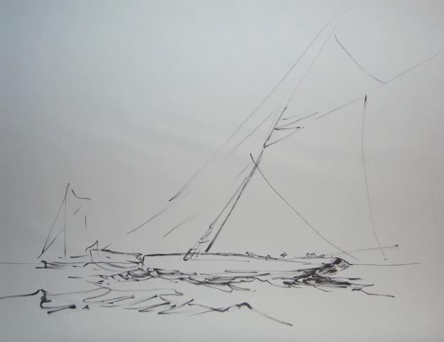 « Au large » feutre/papier, 50-65 cm