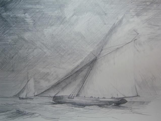« Au large » crayon/ papier, 50-65 cm