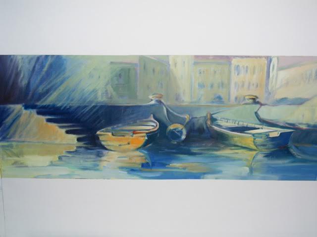 « Au port « huile / papier, 30-65 cm
