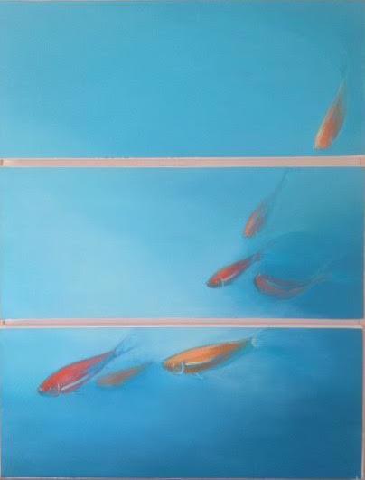 « Bleu », huile sur papier marouflée sur carton, 50_65 cm ( hors cadre)