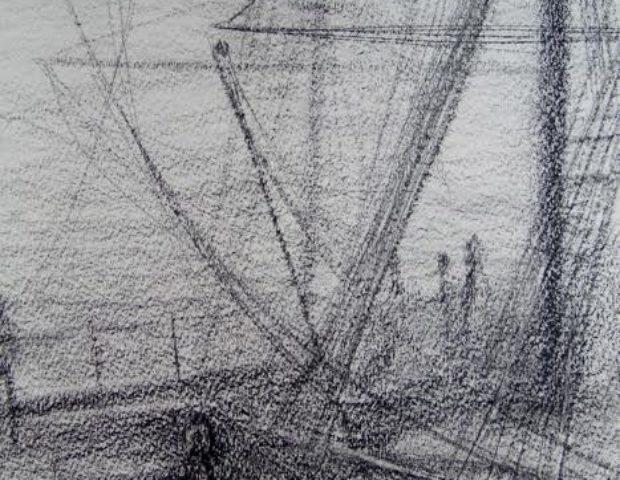 « Cordages » craie conté/papier 50-65 cm