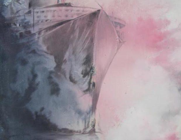 « Dans la brume » pochade à l'huile/papier, 50-65 cm