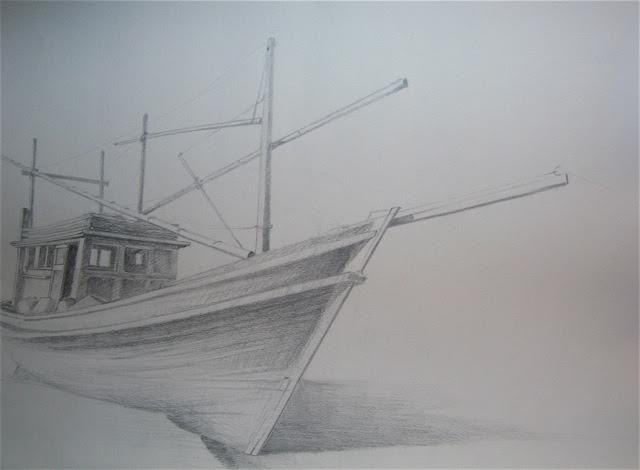 « Echoué » crayon papier, 50-65 cm