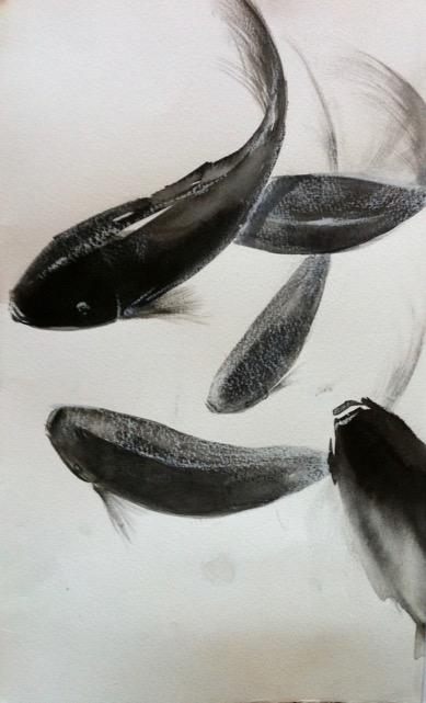 « Fouillis » encre et craie sur papier 25-35 cm