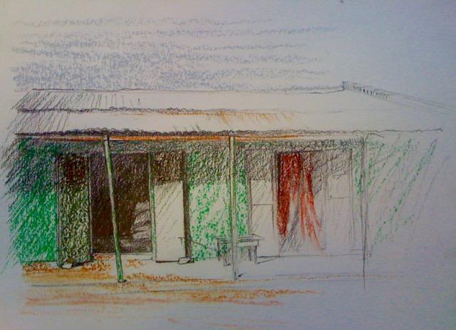 « La case » crayon et pastels sur papier 23-32 cm