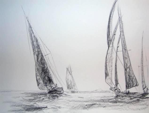 « Retour de nav' », craie conté/ papier, 50-65 cm (non disponible)