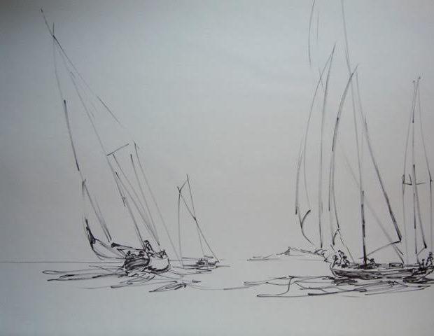 « Retour de nav' », feutre/papier, 50-65 cm
