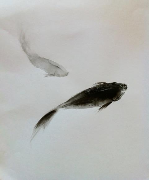 « au calme » encre sur papier 25-32 cm