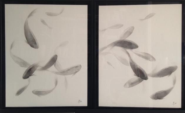 « La danse des poissons » encre de chine sur papier  <br /> marouflée sur carton, dyptique, 2 x 61-74 cm (cadres compris)