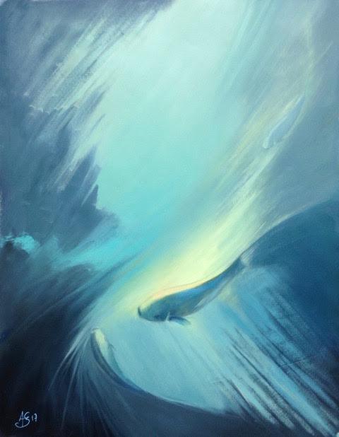 « Eblouissement », huile sur papier, 46-56 cm