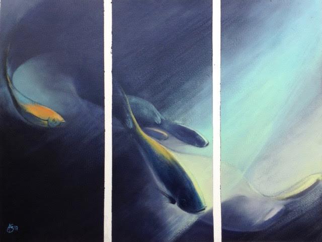 « Nuit », huile sur papier, 50-65 cm