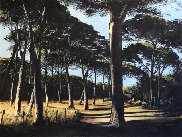 « Pinède Porquerolles », gouache sur papier, 50-65 cm