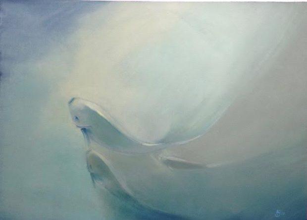 « Vers la lumière », huile sur papier, 50-67 cm